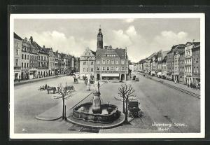AK Löwenberg, Marktplatz mit Otto Weinert-Geschäft