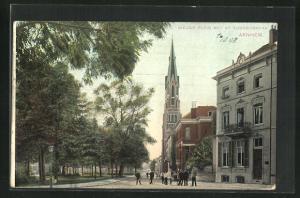 AK Arnheim, nieuwe plein met St. Eusebiuskerk