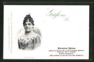 AK Opernsängerin Hermine Spiess, 1861-1893