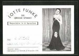 AK Opernsängerin Lotte Funke im Bühnenkleid