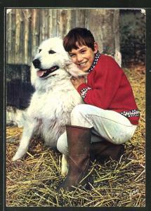 AK Filmszene aus Sébastien parmi les Hommes, Hauptdarsteller mit Hund