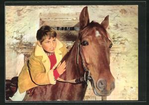 AK Filmszene aus Sébastien parmi les Hommes, Hauptdarsteller auf einem Pferd