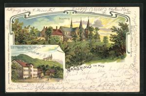 Lithographie Huy, Gasthaus Gambrinus, Blick auf die Huysburg