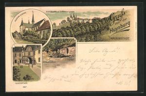 Lithographie Huy, Gasthaus Gambrinus, Blick von der Teufelskanzel auf die Huysburg, Klosterthor