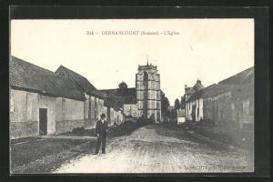AK Dernancourt, L`Eglise, Strassenpartie