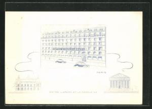 Lithographie Paris, Hotel St-Petersbourg, 33-35, Rue Caumartin, L`Opera et la Madeleine