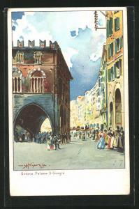 Lithographie Genova, Palazzo S. Giorgio, Arkaden und Häuserfassaden mit belebten Platz