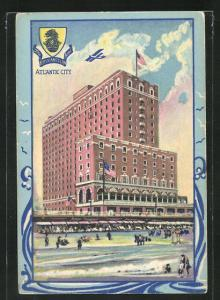 Passepartout-AK Atlantic City, NJ, The Ritz Carlton Hotel mit Strand