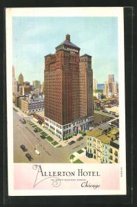 AK Chicago, IL, Allerton Hotel, 701 N. Michigan Ave and Huron St., aus der Vogelschau