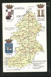 AK Beja, Landkarte, Evora, Portalegre, Wappen