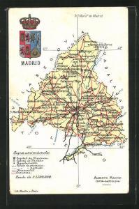 AK Madrid, Landkarte, Chinchon, Colmenar Viejo, Wappen