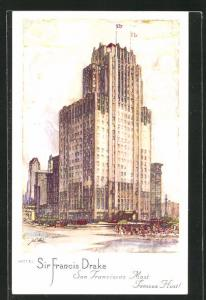 AK San Francisco, CA, Hotel Sir Francis Drake, Eckfassade