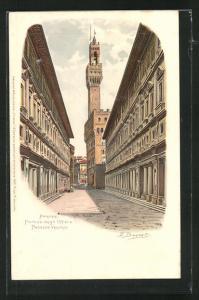 AK Firenze, Portico degli Uffizi e Palazzo Vecchio