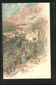 AK Capri, Ortsansicht mit Felsmassiv