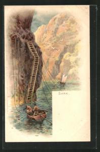 AK Sark, Felslandschaft mit Ufer und Holzboot
