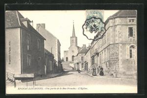 AK Epinac-Les-Mines, Une partie de la Rue Franche, L'Eglise