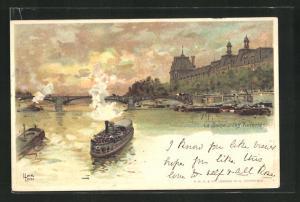 Lithographie Paris, La Seine les Tuileries
