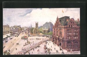 AK Edinburgh, C.R. Princes Street Station Hotel, Castle and Gardens
