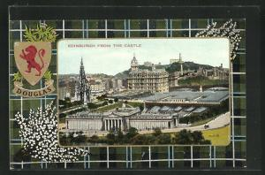 AK Edinburgh, seen from the Castle, Wappen Douglas