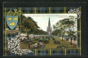 AK Edinburgh, Scott Monument, east Princes Street Gardens, Wappen Gordon