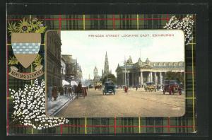 AK Edinburgh, Princes Street Looking East, Wappen Hunting Stewart