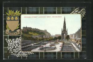AK Edinburgh, Princes Street Looking West, Wappen Graham