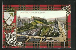 AK Edinburgh, Castle and old Town, Wappen Macgregor