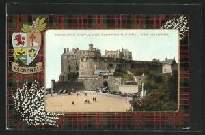 AK Edinburgh, Castle and Scottish National war Memorial, Wappen Macdonald