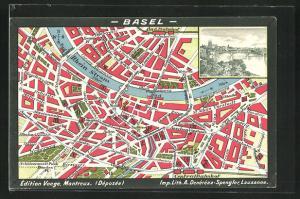 AK Basel, Stadtplan mit Rhein, Stadtansicht