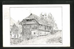 Künstler-AK Eisentratten, Geburtshaus des Bildhauers Hans Gasser
