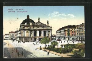 AK Lemberg /Lwow, Theatergebäude mit Vorplatz