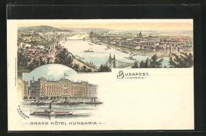 Lithographie Budapest, Ortsansicht und Grand Hotel Hungaria