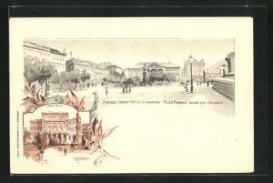 Lithographie Budapest, Ferencz-Jozsef tèr ès az Akadèmia, Akademia