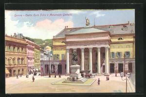 Künstler-AK Genova, Teatro Carlo Felice e Monumento Garibaldi
