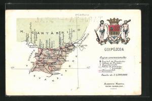 AK San Sebastian, geografische Karte der Provinz Guipuzcoa im Baskenland mit Wappen