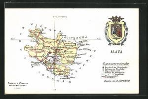 AK Vitoria, geografische Karte der Provinz Alava im Baskenland mit Wappen