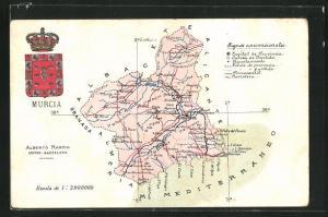 AK Murcia, Geografische Karte der Umgebung mit Wappen