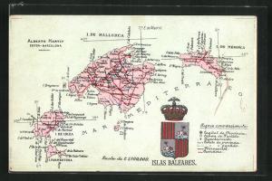 AK Palma, geografische Karte der Balearen mit Wappen Islas Baleares