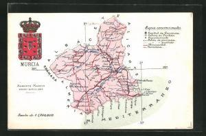 AK Murcia, Geografische Karte der Umgebung mit Wappen der Stadt