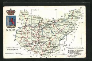 AK Badajoz, Geografische Karte der Provinz Badajoz in Extremadura mit Wappen