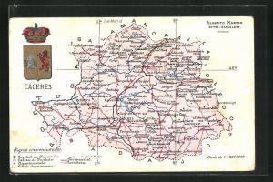 AK Càceres, Geografische Karte der Provinz Càceres in Extremadura mit Wappen