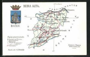 AK Viseu, geografische Karte von Beira Alta mit Wappen
