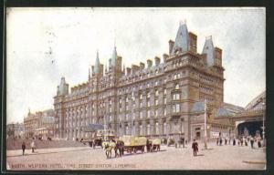 Künstler-AK Liverpool, North Western Hotel and Lime Street Station