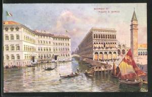 Künstler-AK Venezia, Hotel-Restaurant Cavalletto, Piazza S. Marco