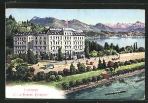 Künstler-AK Lucerne, Grand Hotel Europe