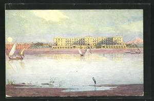 Künstler-AK Luxor, View of the Winter Palace-Hotel