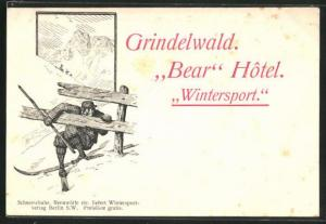 Künstler-AK Grindelwald, Hotel Bear, Skifahrer am Holzzaun