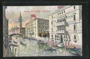 Künstler-AK Venezia, Hotel Vittoria