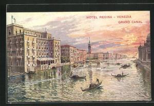 Künstler-AK Venezia, Grand Canal & Hotel Regina