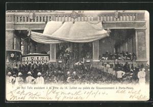AK Porto-Novo, Le Roi Tofa à la Fete du 14. Juillet au palais du Gouvernement